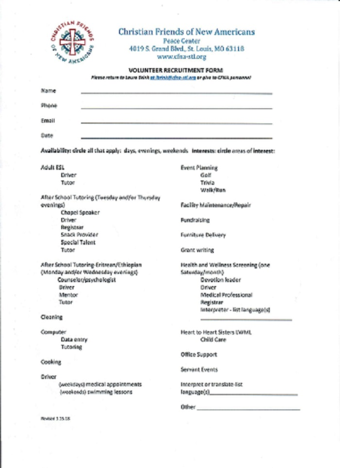 CFNA Volunteer Recruitment Form